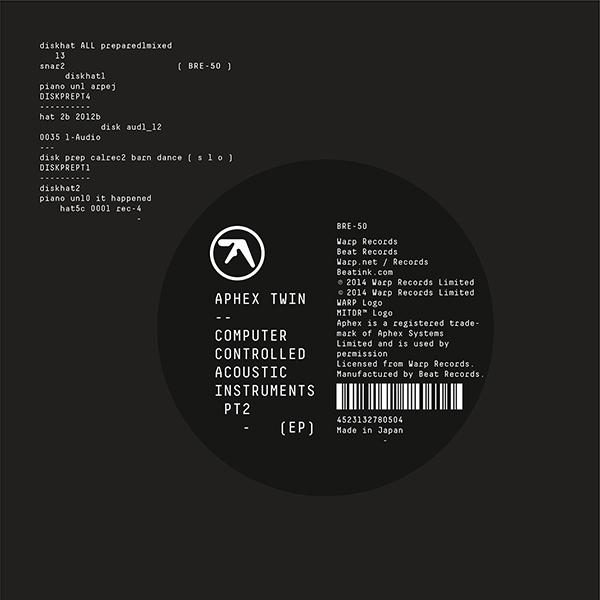 Copertina Disco Vinile 33 giri Computer Controlled Acoustic Instruments pt2 di Aphex Twin